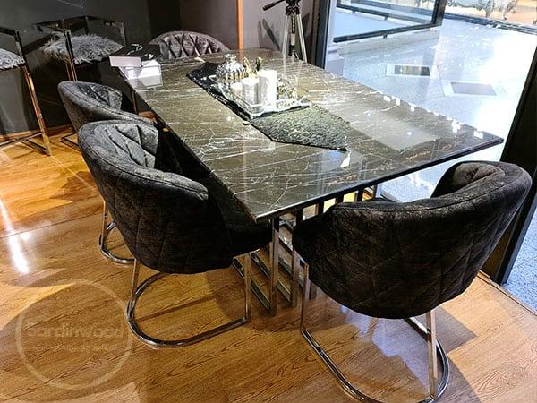 میز غذا خوری پایه استیل ویدا