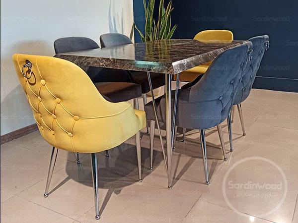 میز ناهارخوری پایه استیل چستر کاردو