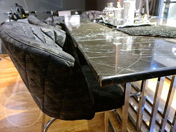 میز ناهار خوری پایه استیل طرح سنگ ویدا