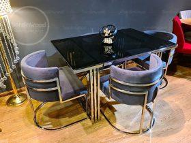 میز ناهار خوری پایه استیل گلدانی یادگار