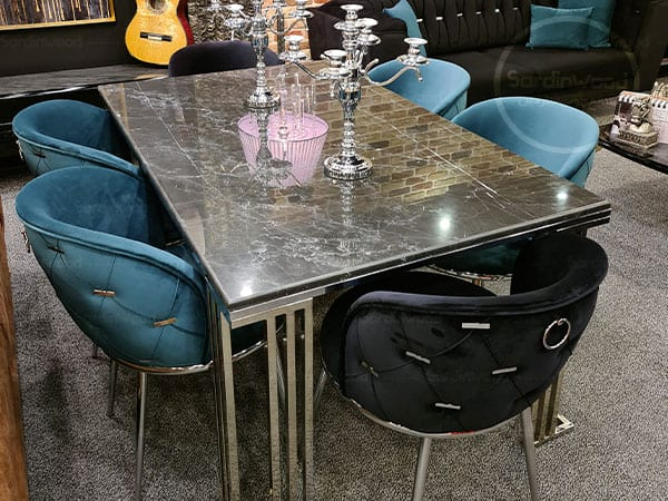 میز ناهار خوری چستر پایه فلزی میران