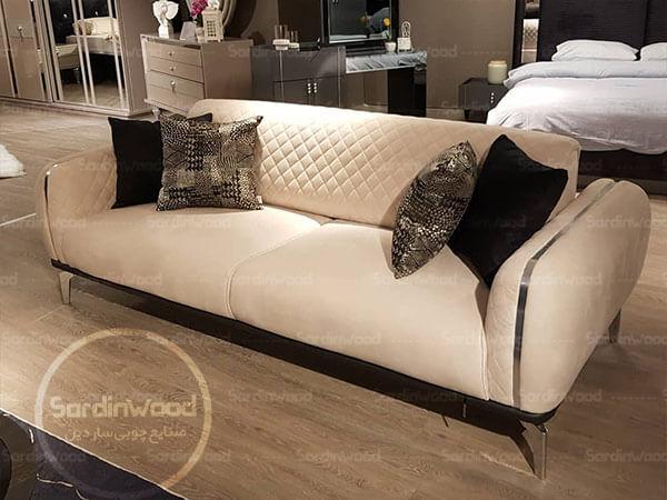 کاناپه سفید پایه استیل نگین
